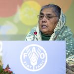 Bangladeshi Minister of Agriculture Matia Chowdhury addressing the Second International Conference on Nutrition. Photo: FAO